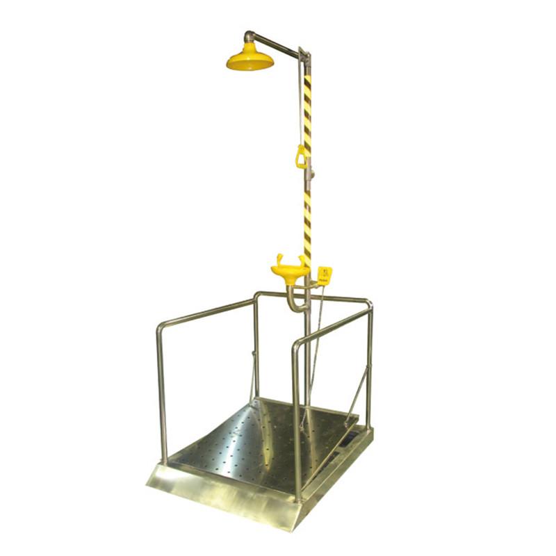 不锈钢脚踏护栏型复合式洗眼器BD-550